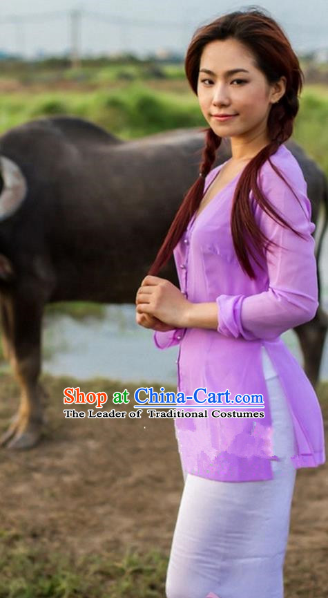 Top Grade Asian Vietnamese Traditional Dress, Vietnam National Farmwife Ao Dai Dress, Vietnam Purple Ao Dai Blouse and Pants for Woman