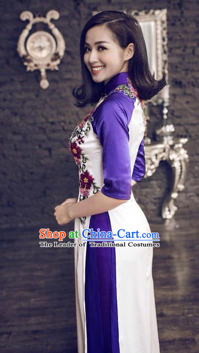 Top Grade Asian Vietnamese Traditional Dress, Vietnam National Princess Ao Dai Dress, Vietnam Purple Patch Embroidered Ao Dai Cheongsam Dress and Pants Clothing for Woman