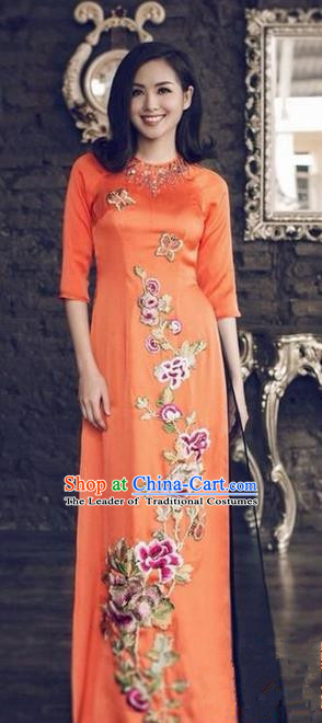 Top Grade Asian Vietnamese Traditional Dress, Vietnam National Princess Ao Dai Dress, Vietnam Orange Patch Embroidered Ao Dai Cheongsam Dress and Pants Clothing for Woman