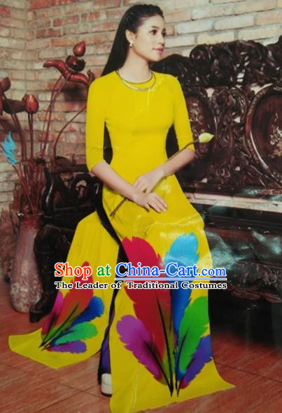 Top Grade Asian Vietnamese Traditional Dress, Vietnam National Queen Ao Dai Dress, Vietnam Palace Princess Yellow Printing Ao Dai Cheongsam Dress Clothing for Woman