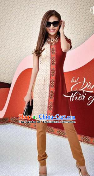 Traditional Top Grade Asian Vietnamese Dress, Vietnam National Female Ao Dai Dress Women Cheongsam Clothing