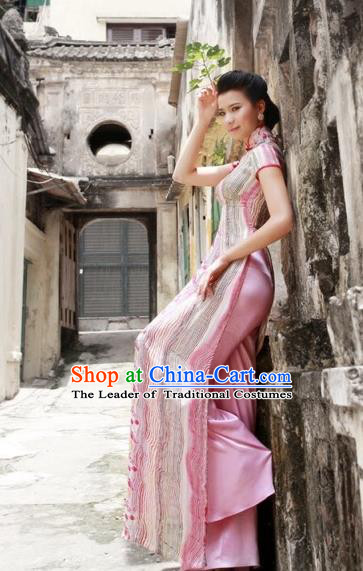 Traditional Top Grade Asian Vietnamese Dress, Vietnam National Female Handmade Ao Dai Dress Women Pink Printing Full Dress Ao Dai Cheongsam Clothing