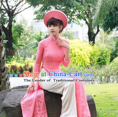 Traditional Top Grade Asian Vietnamese Dress, Vietnam National Female Handmade Ao Dai Dress Women Pink Linen Full Dress Ao Dai Cheongsam Clothing