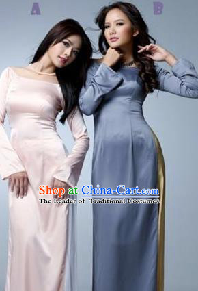 Traditional Top Grade Asian Vietnamese Dress, Vietnam National Female Handmade Ao Dai Dress Women Silk Full Dress Ao Dai Cheongsam Clothing