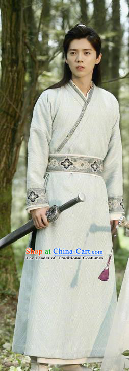 Chinese Ancient Tang Dynasty Kawaler Costume and Headwear, Fighter of the Destiny Traditional Chinese Ancient Swordsman Clothing Complete Set for Men