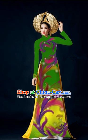 Traditional Top Grade Asian Vietnamese Costumes Dance Dress, Vietnam National Female Handmade Green Printing Ao Dai Dress Cheongsam Clothing for Women