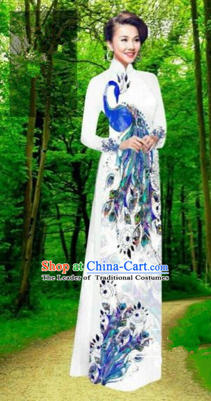 Traditional Top Grade Asian Vietnamese Costumes Dance Dress, Vietnam National Female Handmade White Printing Peacock Ao Dai Dress Cheongsam Clothing for Women