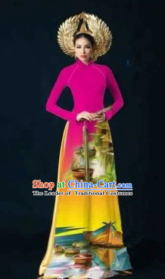 Traditional Top Grade Asian Vietnamese Costumes Dance Dress, Vietnam National Female Handmade Printing Rose Ao Dai Dress Cheongsam Clothing for Women