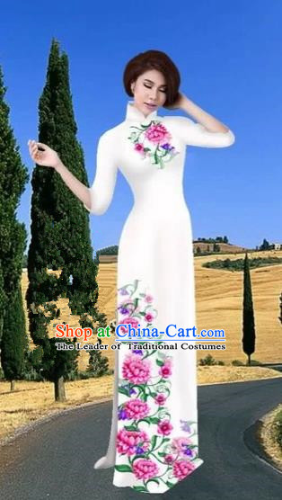 Traditional Top Grade Asian Vietnamese Costumes Dance Dress, Vietnam National Female Handmade Printing Flowers White Ao Dai Dress Cheongsam Clothing for Women