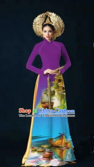 Traditional Top Grade Asian Vietnamese Costumes Dance Dress, Vietnam National Female Handmade Printing Purple Ao Dai Dress Cheongsam Clothing for Women