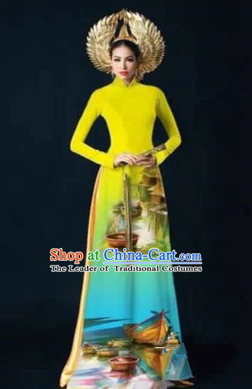 Traditional Top Grade Asian Vietnamese Costumes Dance Dress, Vietnam National Female Handmade Printing Yellow Ao Dai Dress Cheongsam Clothing for Women
