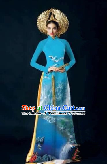 Traditional Top Grade Asian Vietnamese Costumes Dance Dress, Vietnam National Female Handmade Printing Flowers Blue Ao Dai Dress Cheongsam Clothing for Women