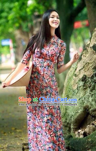 Traditional Top Grade Asian Vietnamese Costumes Dance Dress, Vietnam National Female Handmade Printing Shivering Ao Dai Dress Cheongsam Clothing for Women