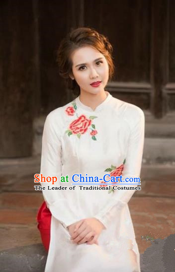 Traditional Top Grade Asian Vietnamese Costumes Dance Dress, Vietnam National Female Handmade White Printing Flowers Ao Dai Dress Cheongsam Clothing for Women