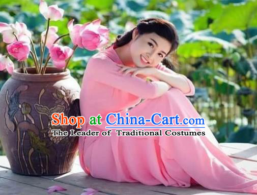 Traditional Top Grade Asian Vietnamese Costumes Dance Dress, Vietnam National Female Handmade Wedding Pink Ao Dai Dress Cheongsam Clothing for Women