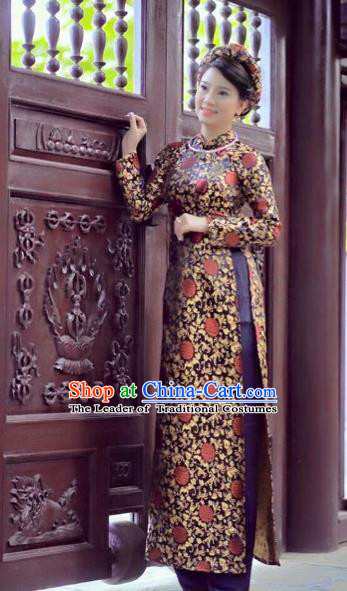 Traditional Top Grade Asian Vietnamese Costumes Dance Dress, Vietnam National Female Handmade Queen Printing Ao Dai Dress Cheongsam Clothing for Women