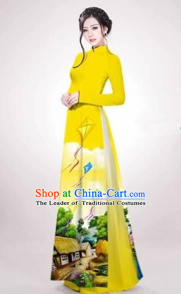Traditional Top Grade Asian Vietnamese Costumes Dance Dress, Vietnam National Female Handmade Queen Printing Yellow Ao Dai Dress Cheongsam Clothing for Women
