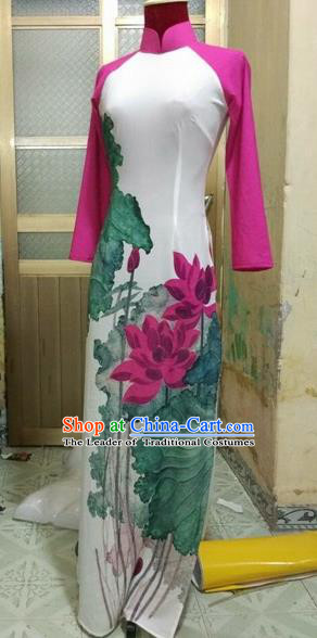 Traditional Top Grade Asian Vietnamese Costumes Dance Dress, Vietnam National Female Handmade Queen Painting Lotus Flowers Ao Dai Dress Cheongsam Clothing for Women