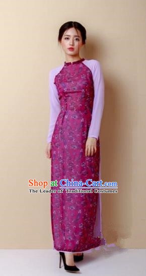 Traditional Top Grade Asian Vietnamese Costumes Dance Dress, Vietnam National Women Ao Dai Dress Rose Cheongsam Clothing