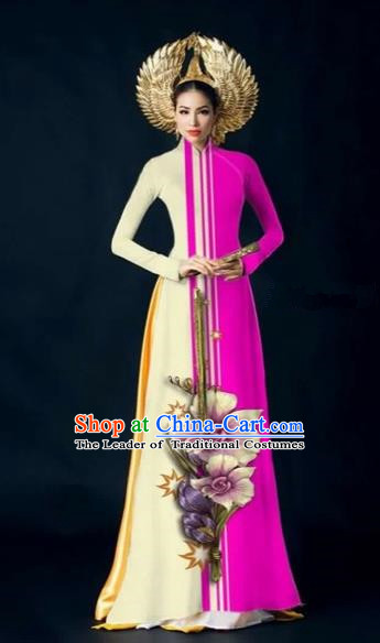 Traditional Top Grade Asian Vietnamese Costumes Dance Dress and Pants Complete Set, Vietnam National Women Ao Dai Dress Flowers Painting Rose Cheongsam Clothing