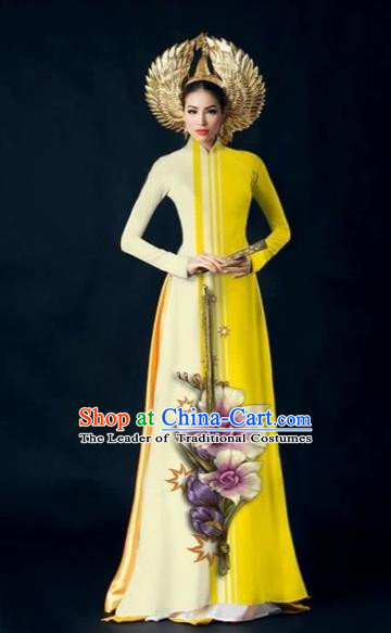 Traditional Top Grade Asian Vietnamese Costumes Dance Dress and Pants Complete Set, Vietnam National Women Ao Dai Dress Flowers Painting Yellow Cheongsam Clothing