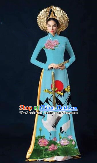 Traditional Top Grade Asian Vietnamese Costumes Dance Dress and Pants Complete Set, Vietnam National Women Ao Dai Dress Flowers Crane Painting Blue Cheongsam Clothing