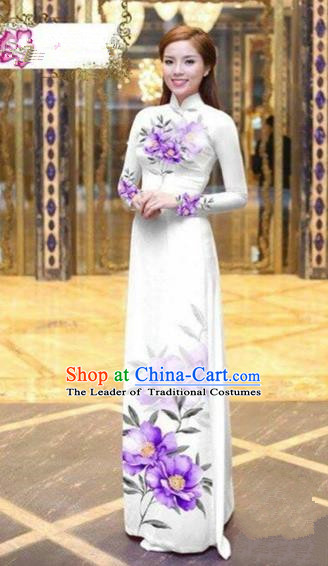 Traditional Top Grade Asian Vietnamese Costumes Dance Dress, Vietnam National Female Handmade Printing Purple Flowers Ao Dai Dress Cheongsam Clothing for Women
