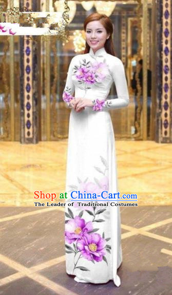 Traditional Top Grade Asian Vietnamese Costumes Dance Dress, Vietnam National Female Handmade Printing Pink Flowers Ao Dai Dress Cheongsam Clothing for Women