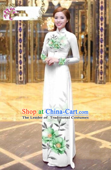 Traditional Top Grade Asian Vietnamese Costumes Dance Dress, Vietnam National Female Handmade Printing Green Flowers Ao Dai Dress Cheongsam Clothing for Women