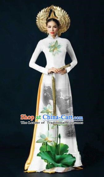 Traditional Top Grade Asian Vietnamese Costumes Dance Dress, Vietnam National Women Ao Dai Dress Ink Painting Lotus White Cheongsam Clothing