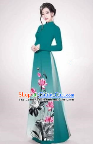 Traditional Top Grade Asian Vietnamese Costumes Dance Dress, Vietnam National Female Handmade Printing Lotus Flowers Green Ao Dai Dress Cheongsam Clothing for Women