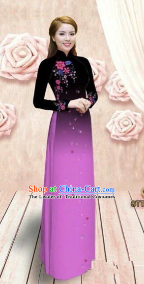 Traditional Top Grade Asian Vietnamese Costumes Dance Dress, Vietnam National Female Handmade Rose Ao Dai Dress Cheongsam Clothing for Women