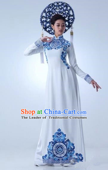Traditional Top Grade Asian Vietnamese Costumes Dance Dress, Vietnam National Female Handmade Queen Blue and white porcelain Ao Dai Dress Cheongsam Clothing for Women