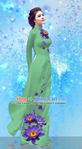 Traditional Top Grade Asian Vietnamese Costumes Dance Dress and Pants, Vietnam National Female Handmade Printing Green Ao Dai Dress Cheongsam Clothing for Women