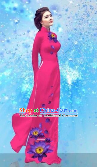 Traditional Top Grade Asian Vietnamese Costumes Dance Dress and Pants, Vietnam National Female Handmade Printing Rose Ao Dai Dress Cheongsam Clothing for Women