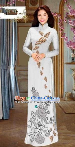 Traditional Top Grade Asian Vietnamese Costumes Dance Dress and Pants, Vietnam National Female Handmade Printing Flowers Ao Dai Dress Cheongsam Clothing for Women