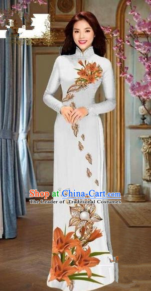 Traditional Top Grade Asian Vietnamese Costumes Dance Dress and Pants, Vietnam National Female Handmade Printing Orange Flowers Ao Dai Dress Cheongsam Clothing for Women