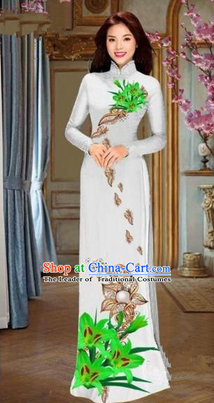 Traditional Top Grade Asian Vietnamese Costumes Dance Dress and Pants, Vietnam National Female Handmade Printing Green Flowers Ao Dai Dress Cheongsam Clothing for Women
