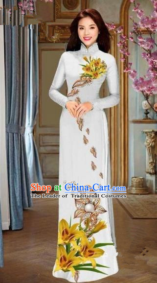 Traditional Top Grade Asian Vietnamese Costumes Dance Dress and Pants, Vietnam National Female Handmade Printing Yellow Flowers Ao Dai Dress Cheongsam Clothing for Women