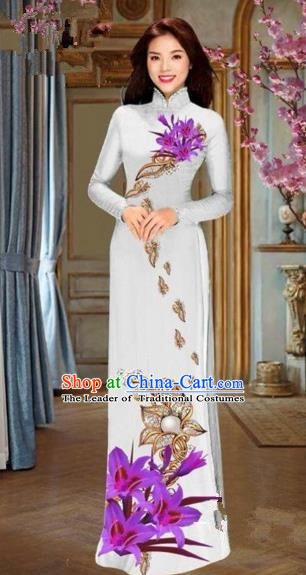 Traditional Top Grade Asian Vietnamese Costumes Dance Dress and Pants, Vietnam National Female Handmade Printing Purple Flowers Ao Dai Dress Cheongsam Clothing for Women