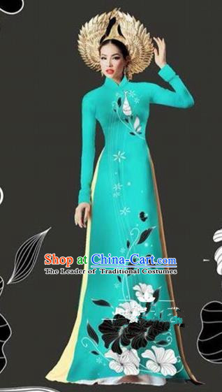 Traditional Top Grade Asian Vietnamese Costumes Dance Dress and Loose Pants, Vietnam National Female Handmade Printing Blue Ao Dai Dress Cheongsam Clothing for Women
