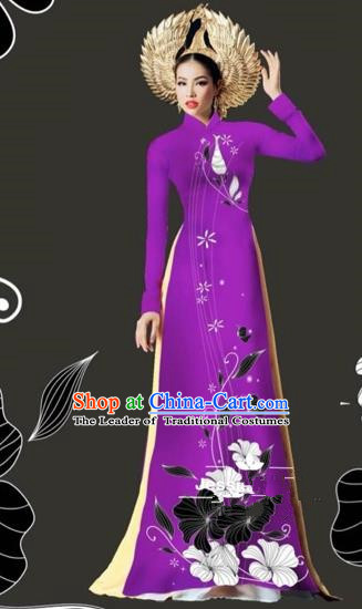 Traditional Top Grade Asian Vietnamese Costumes Dance Dress and Loose Pants, Vietnam National Female Handmade Printing Purple Ao Dai Dress Cheongsam Clothing for Women