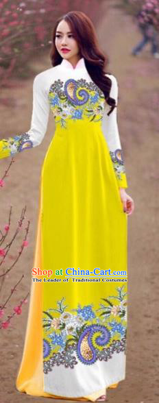 Traditional Top Grade Asian Vietnamese Costumes Handmade Dance Dress, Vietnam National Female Printing Yellow Chiffon Ao Dai Dress Cheongsam Clothing for Women