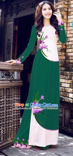 Traditional Top Grade Asian Vietnamese Costumes Handmade Dance Dress, Vietnam National Female Printing Flowers Green Ao Dai Dress Cheongsam Clothing for Women
