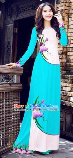 Traditional Top Grade Asian Vietnamese Costumes Handmade Dance Dress, Vietnam National Female Printing Flowers Blue Ao Dai Dress Cheongsam Clothing for Women
