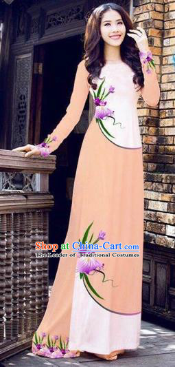 Traditional Top Grade Asian Vietnamese Costumes Handmade Dance Dress, Vietnam National Female Printing Flowers Ao Dai Dress Cheongsam Clothing for Women