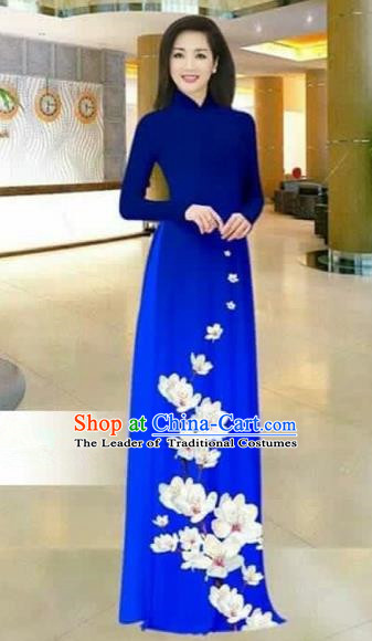 Traditional Top Grade Asian Vietnamese Costumes Dance Dress, Vietnam National Female Printing Flowers Royalblue Ao Dai Dress Stand Collar Cheongsam Clothing for Women