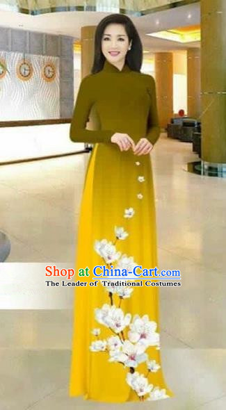 Traditional Top Grade Asian Vietnamese Costumes Dance Dress, Vietnam National Female Printing Flowers Olive Green Ao Dai Dress Stand Collar Cheongsam Clothing for Women