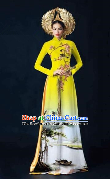Traditional Top Grade Asian Vietnamese Costumes Dance Dress and Pants, Vietnam National Female Printing Crane Yellow Ao Dai Dress Cheongsam Clothing Complete Set for Women