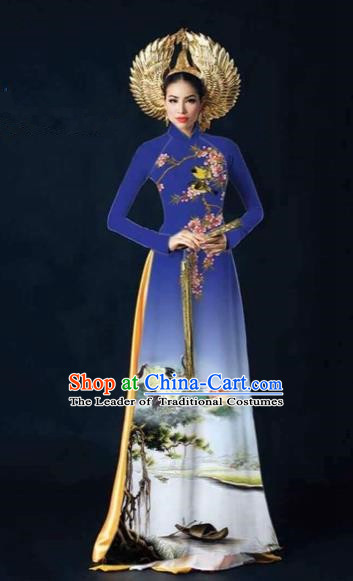 Traditional Top Grade Asian Vietnamese Costumes Dance Dress and Pants, Vietnam National Female Printing Crane Blue Ao Dai Dress Cheongsam Clothing Complete Set for Women